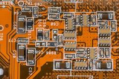 Technologia i elektronika - część stary płyty głównej zakończenie up dla tekstury obrazy royalty free