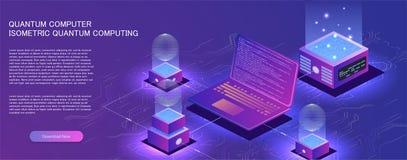Technologia isometric infographic projekt dla kwantowego komputeru, zdjęcia royalty free