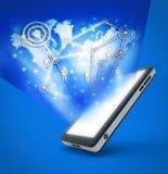Technologia komunikacyjna z telefon komórkowy ilustracji