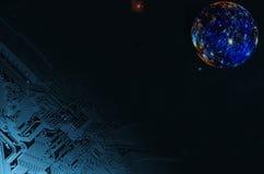 Technologia kosmiczna i surrealistyczny księżyc w pełni Obrazy Royalty Free