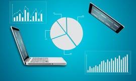 Technologia laptop z wykresu finanse rynków walutowych mapą Zdjęcia Royalty Free