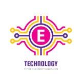 Technologia Listowy E - wektorowa loga szablonu pojęcia ilustracja Abstrakcjonistyczny kreatywnie cyfrowy symbol SEO znak gmerani Obraz Royalty Free