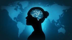 Technologia mózg - kobieta świat Obraz Stock