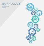 Technologia mechanizmu pojęcie Abstrakcjonistyczny tło z zintegrowanymi przekładniami i ikonami dla cyfrowego, internet, sieć Zdjęcia Royalty Free