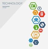 Technologia mechanizmu pojęcie Abstrakcjonistyczny tło z zintegrowanymi przekładniami i ikonami dla cyfrowego, strategia, interne Fotografia Stock