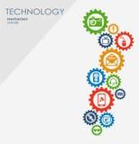 Technologia mechanizmu pojęcie Abstrakcjonistyczny tło z zintegrowanymi przekładniami i ikonami dla cyfrowego, strategia, interne Obraz Royalty Free