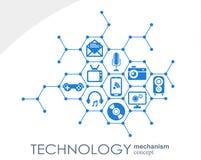 Technologia mechanizmu pojęcie Abstrakcjonistyczny tło z zintegrowanymi przekładniami i ikonami dla cyfrowego, strategia, interne Fotografia Royalty Free