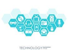Technologia mechanizmu pojęcie Abstrakcjonistyczny tło z zintegrowanymi przekładniami i ikonami dla cyfrowego, strategia, interne Obrazy Stock