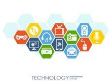 Technologia mechanizmu pojęcie Abstrakcjonistyczny tło z zintegrowanymi przekładniami i ikonami dla cyfrowego, strategia, interne Zdjęcia Royalty Free