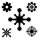 Technologia płatka śniegu zima ustawiająca czarna odosobniona pięć ikon sylwetka na białym tle royalty ilustracja