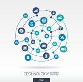 Technologia związku pojęcie Abstrakcjonistyczny tło z zintegrowanymi okręgami i ikonami dla cyfrowego, internet, sieć ilustracji