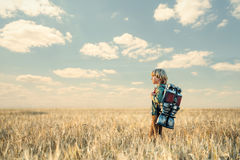 Technologic. Boy with a backpack outdoors Stock Images
