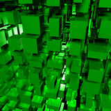 Technologic Cubes. An abstract 3d image of green cubes Royalty Free Stock Photos