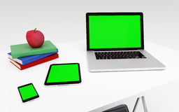 Technologic devices with empty screen on desktop Stock Images