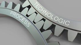 TECHNOLOGIC-PROCESSord på att koppla ihop kugghjul stock illustrationer