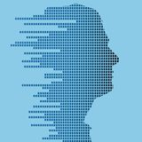 Technologic profile. Profile of male with a technologic twist of geometric squares Royalty Free Stock Images