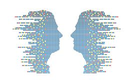 Technologic Profiles. Abstract male profiles made from multicolored squares Stock Photography