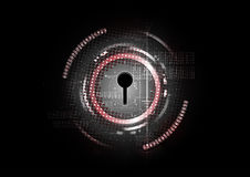 Technological abstract cyber security lock concept background stock illustration