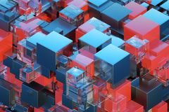 Technological abstraction 3d cube 3D illustration 3D visualization vector illustration