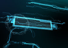 Technological background of futuristic lines and elements. Stock Photos