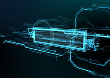 Technological background of futuristic lines and elements. Royalty Free Stock Images