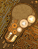 Technological background with light bulb, gears and microchip of brown, orange, yellow, and white shades. Human brain circuit boar. Abstract technological stock illustration
