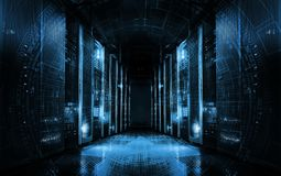 Technological background on servers in data center, futuristic design. Server room represented by several server racks with strong. Server room represented by royalty free illustration