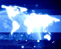Technological blue planet earth Stock Photo