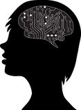 Technological brains. Vector eps10.silhouette of the head and brain. process of human thinking. The concept of intelligence. People communication with the royalty free illustration