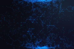 Technological connection futuristic shape, blue dot network, abstract background, blue background, Concept of Network. Internet communication, 3D rendering Royalty Free Stock Photos