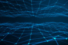 Technological connection futuristic shape, blue dot network, abstract background, blue background, Concept of Network Stock Photo