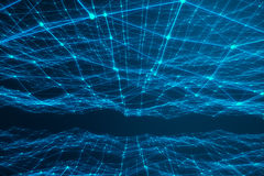 Technological connection futuristic shape, blue dot network, abstract background, blue background, Concept of Network Stock Image