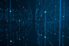 Technological connection futuristic shape, blue dot network, abstract background, blue background, Concept of Network Royalty Free Stock Photo
