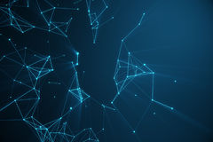 Technological connection futuristic shape, blue dot network, abstract background, blue background, Concept of Network Royalty Free Stock Image
