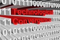 Technological convergence. In the form of binary code, 3D illustration Royalty Free Stock Photo
