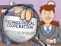 Technological Cooperation through Lens. Doodle Style. Technological Cooperation. Cheerful Officeman Sitting in Offiice and Showing Paper with Concept through Royalty Free Stock Photo