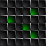 Technological dark background polished black and green squares. Stock Photos