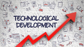 Technological Development Drawn on White Brickwall. 3d. Technological Development Drawn on White Brickwall. Illustration with Hand Drawn Icons. Technological stock illustration