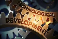 Technological Development on Golden Cogwheels. 3D Render. royalty free stock images