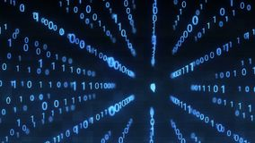 Technological Digital binary data glitch background with binary code. Binary digits 1 and 0 on blue background.