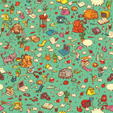 Technological Everyday Objects seamless pattern in colors Stock Image