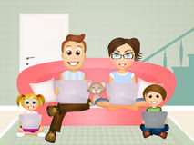 Technological family Royalty Free Stock Photos