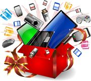 Technological Gifts. A Gift Full of Technologies Royalty Free Stock Photo