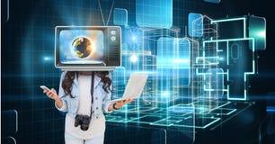 Technological girl with tv head Stock Photos