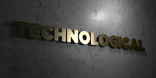 Technological - Gold text on black background - 3D rendered royalty free stock picture Stock Photo