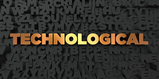 Technological - Gold text on black background - 3D rendered royalty free stock picture Royalty Free Stock Photos