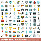100 technological icons set, flat style Stock Image