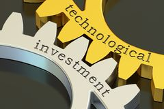 Technological investment concept on the gearwheels, 3D rendering. Technological investment concept on the gearwheels, 3D Stock Photos