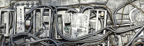 Technological junk. Old electronic equipment assembled in a Technological junk panel Stock Photo