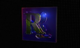 Technological, letter blue background 3d render Royalty Free Stock Photography